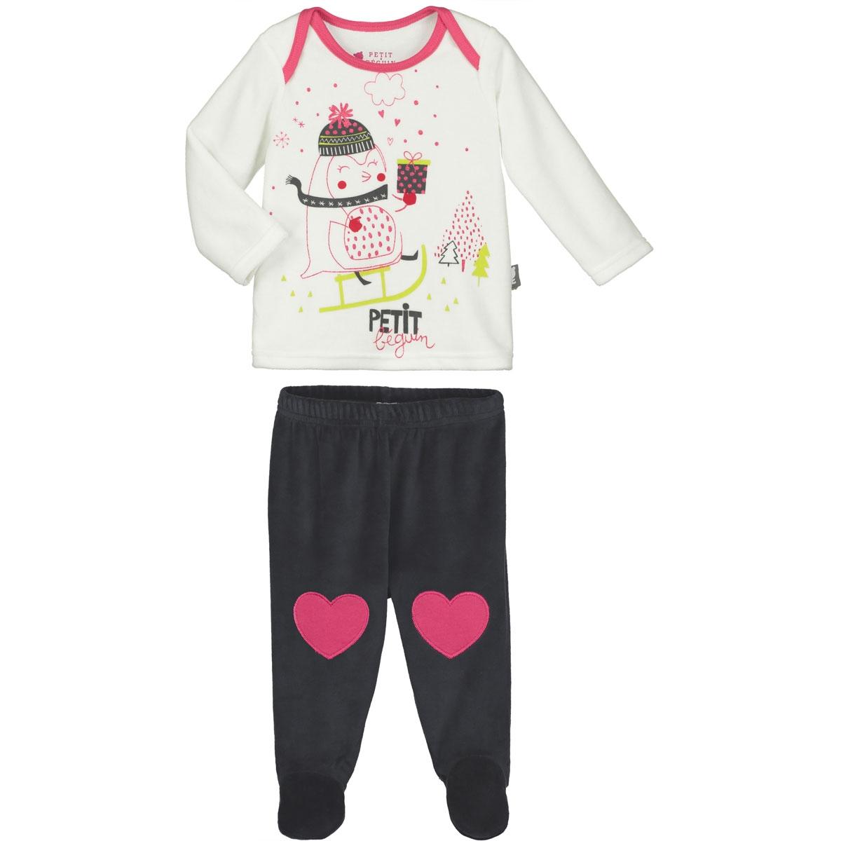 a0b8fa9ad26a7 Pyjama bébé 2 pièces velours avec pieds Lovesnow - PETIT BEGUIN