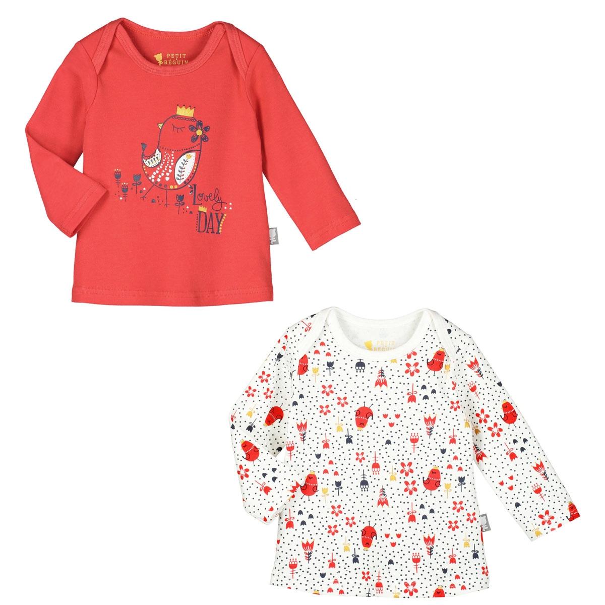 4b247e893a9a1 Lot de 2 t-shirts manches longues bébé fille Lovely Day - PETIT BEGUIN