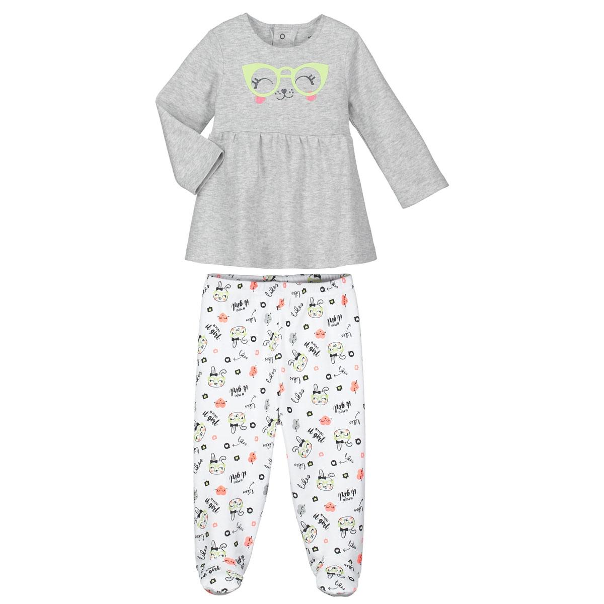 cf6f953a63043 Pyjama bébé 2 pièces avec pieds Mini Girl - Petit Béguin
