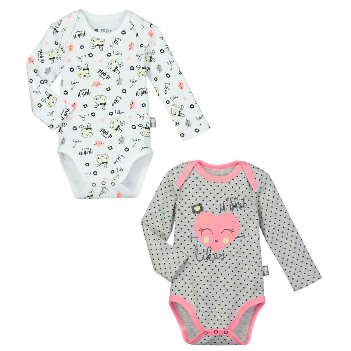 Lot de 2 bodies bébé fille manches longues Mini Girl