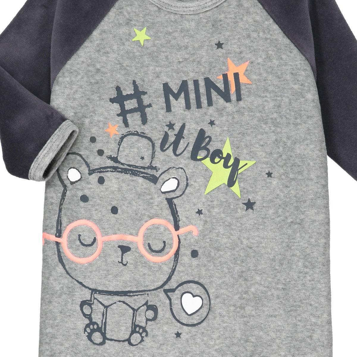92ce19d2f0503 Pyjama bébé velours Mini Boy - PETIT BEGUIN