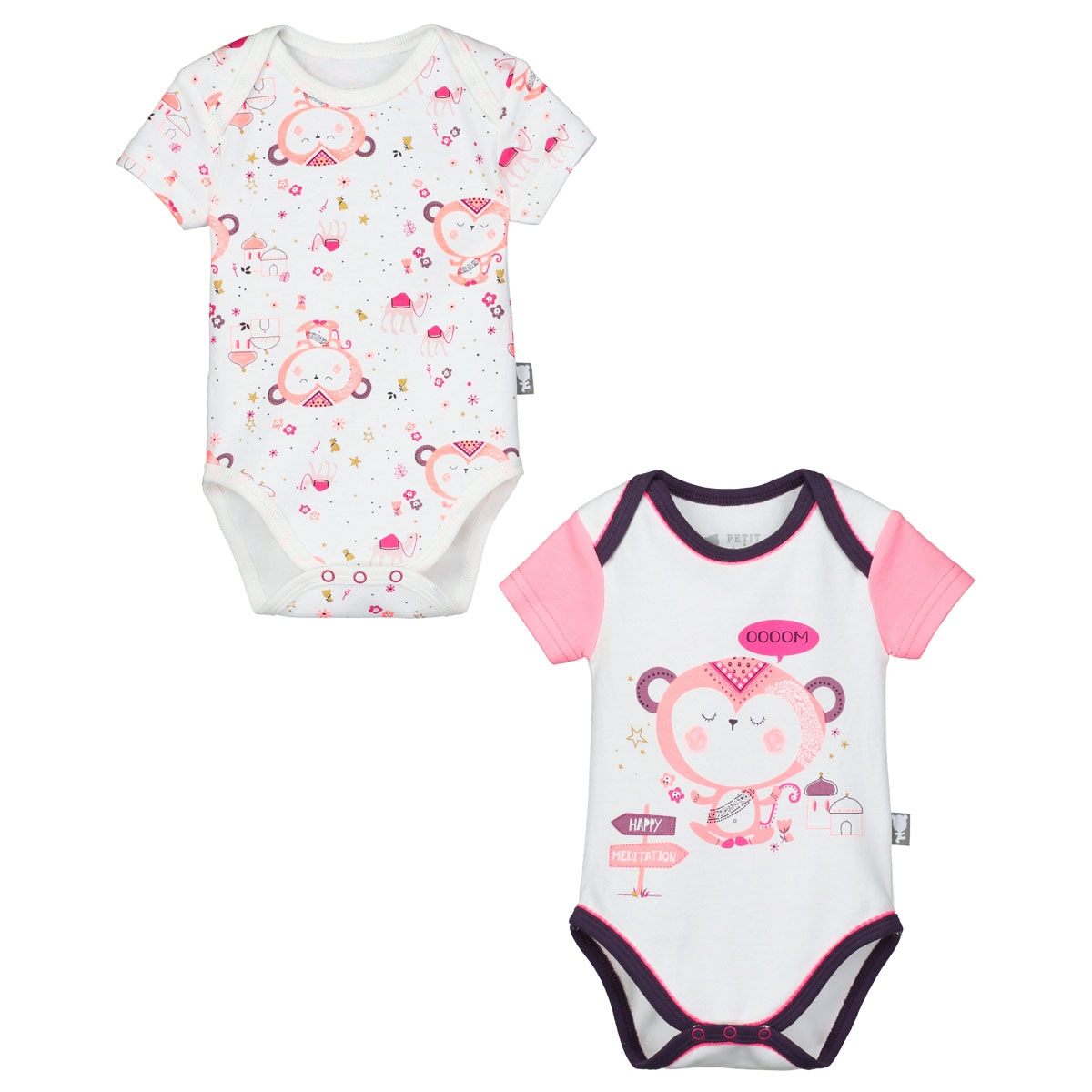 Lot de 2 bodies b b fille manches courtes namaste petit - Lot body bebe ...