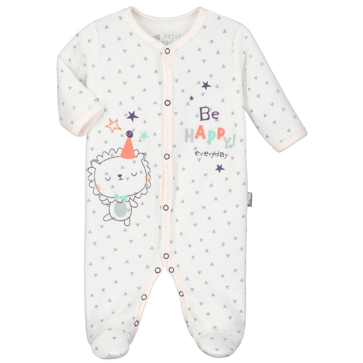3861a9672657d Pyjama bébé velours Hello - PETIT BEGUIN en 3 mois