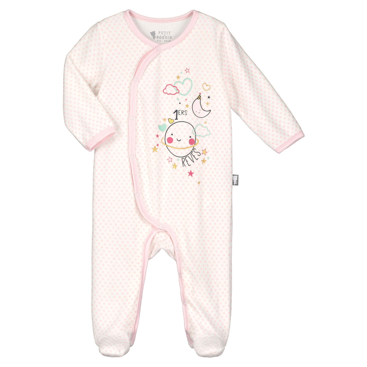 f5eab969b135 Pyjama bébé velours rose Jolie Planète - PETIT BEGUIN