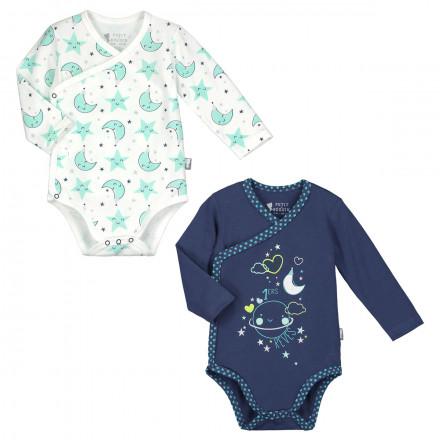 Lot de 2 bodies manches longues bébé garçon Pyjama Party