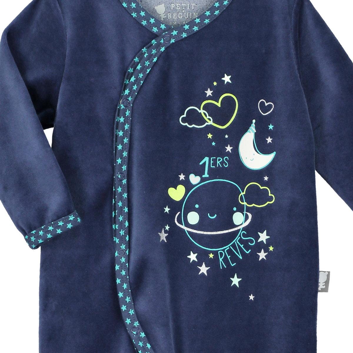 Pyjama bébé velours bleu Pyjama Party
