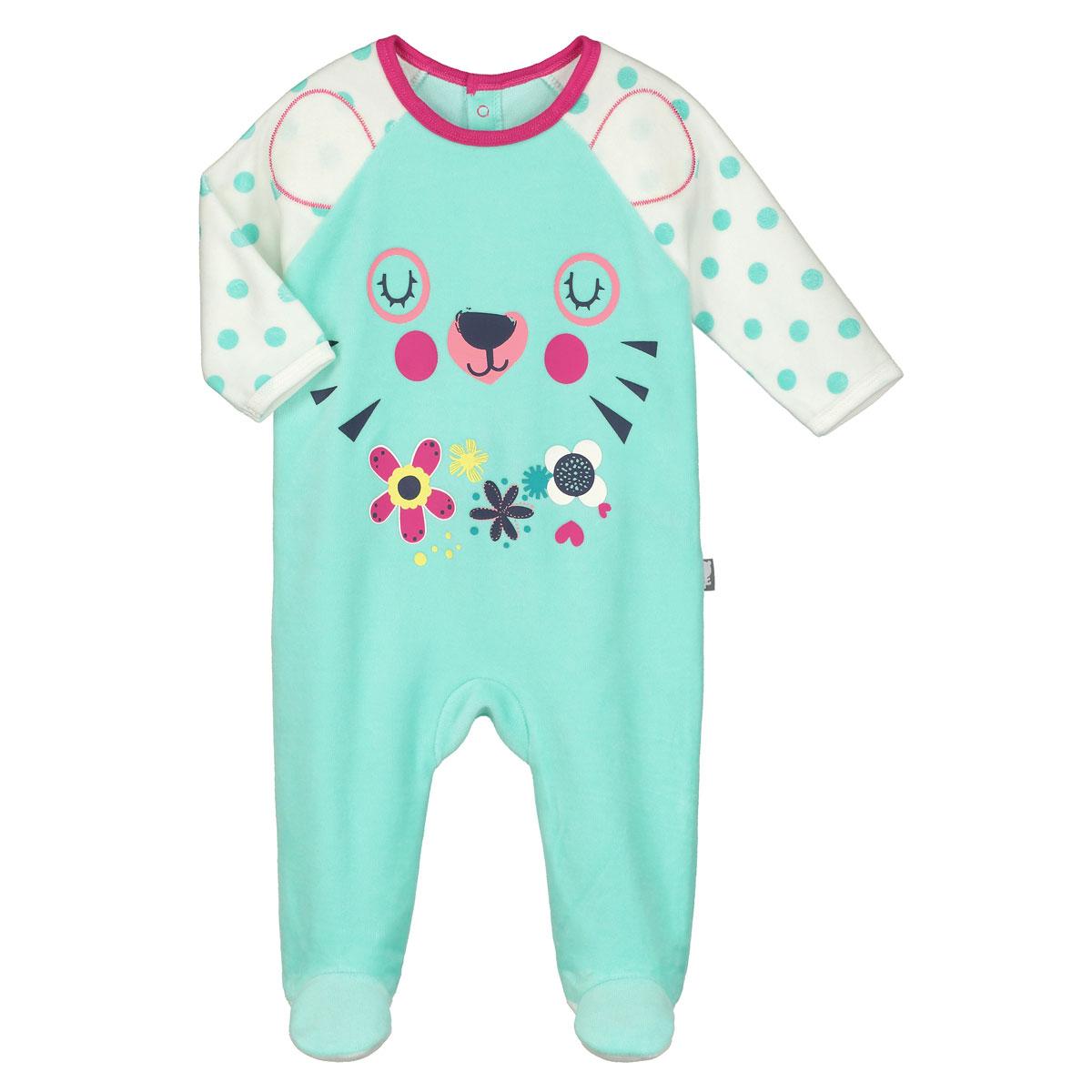 53c95cd560a5d Pyjama bébé velours Little Cute - PETIT BEGUIN en 6mois