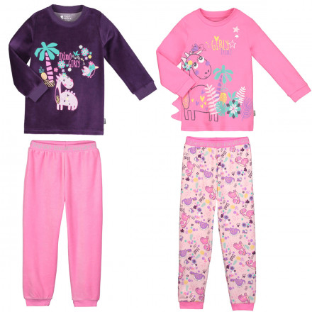 Lot de 2 pyjamas fille manches longues Dino girl