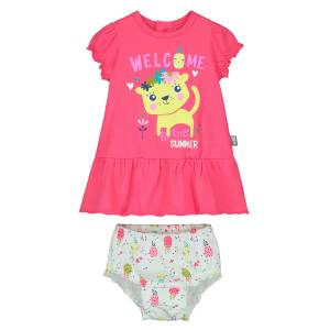 Ensemble bébé fille robe + bloomer Love Caraibes