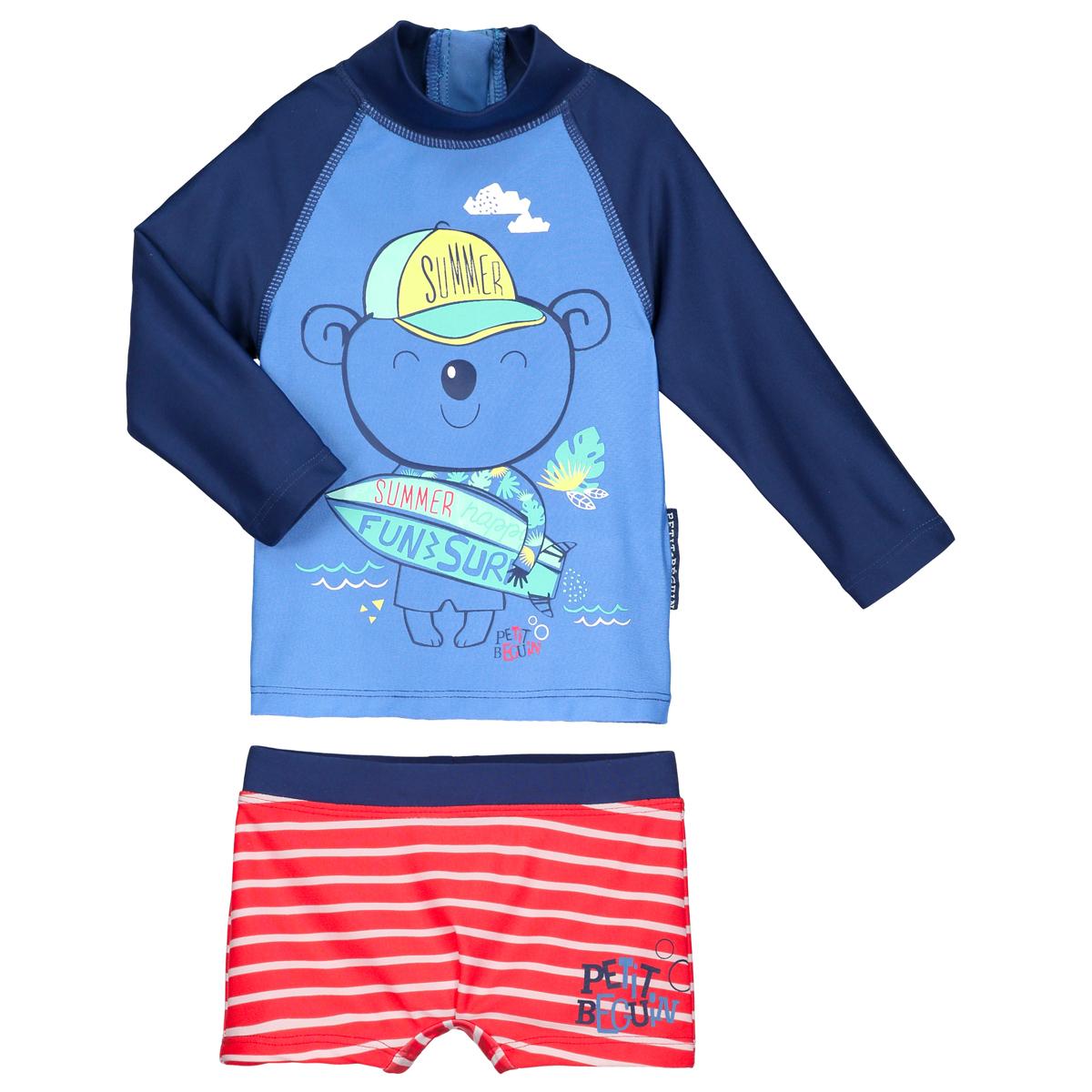 6d0c8c01b7dca Maillot de bain ANTI-UV 2 pièces t-shirt   slip bébé garçon Happy Summ