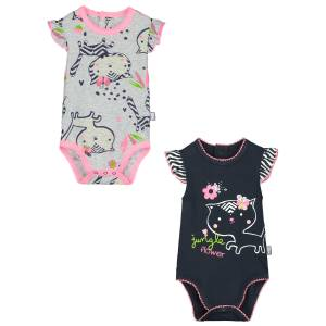 Lot de 2 bodies manches courtes bébé fille Jungle Flowers