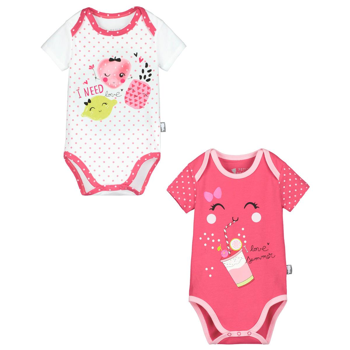 Lot de 2 bodies manches courtes bébé fille Strawberry