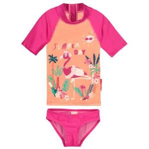 Maillot de bain ANTI-UV 2 pièces t-shirt & slip fille Flamingo