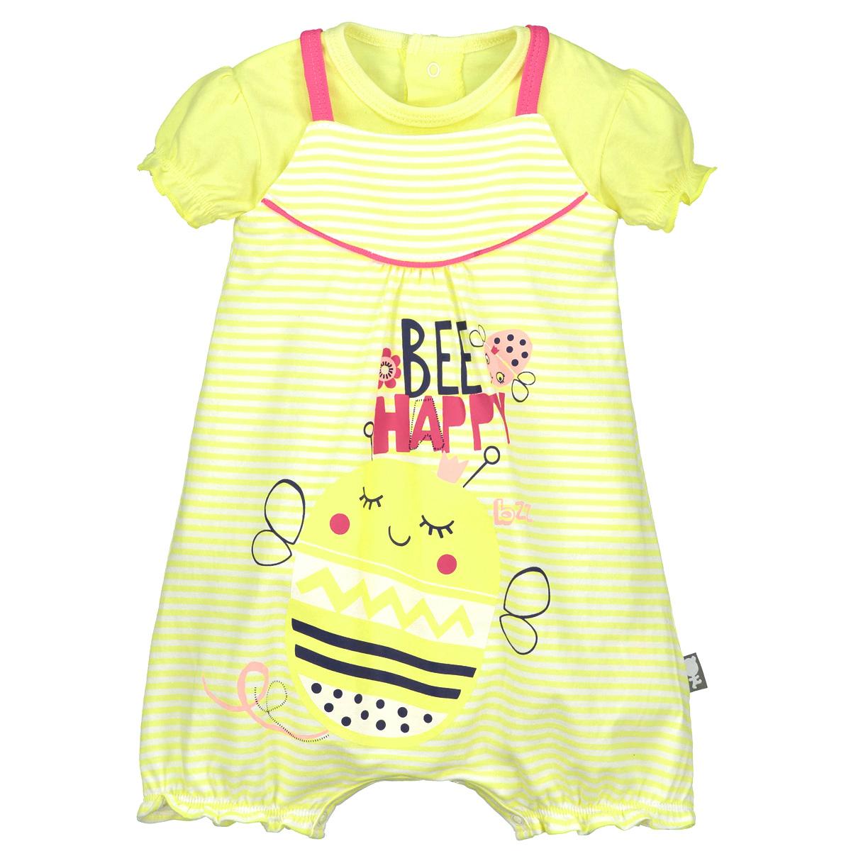Barboteuse + t-shirt bébé fille Bee Happy