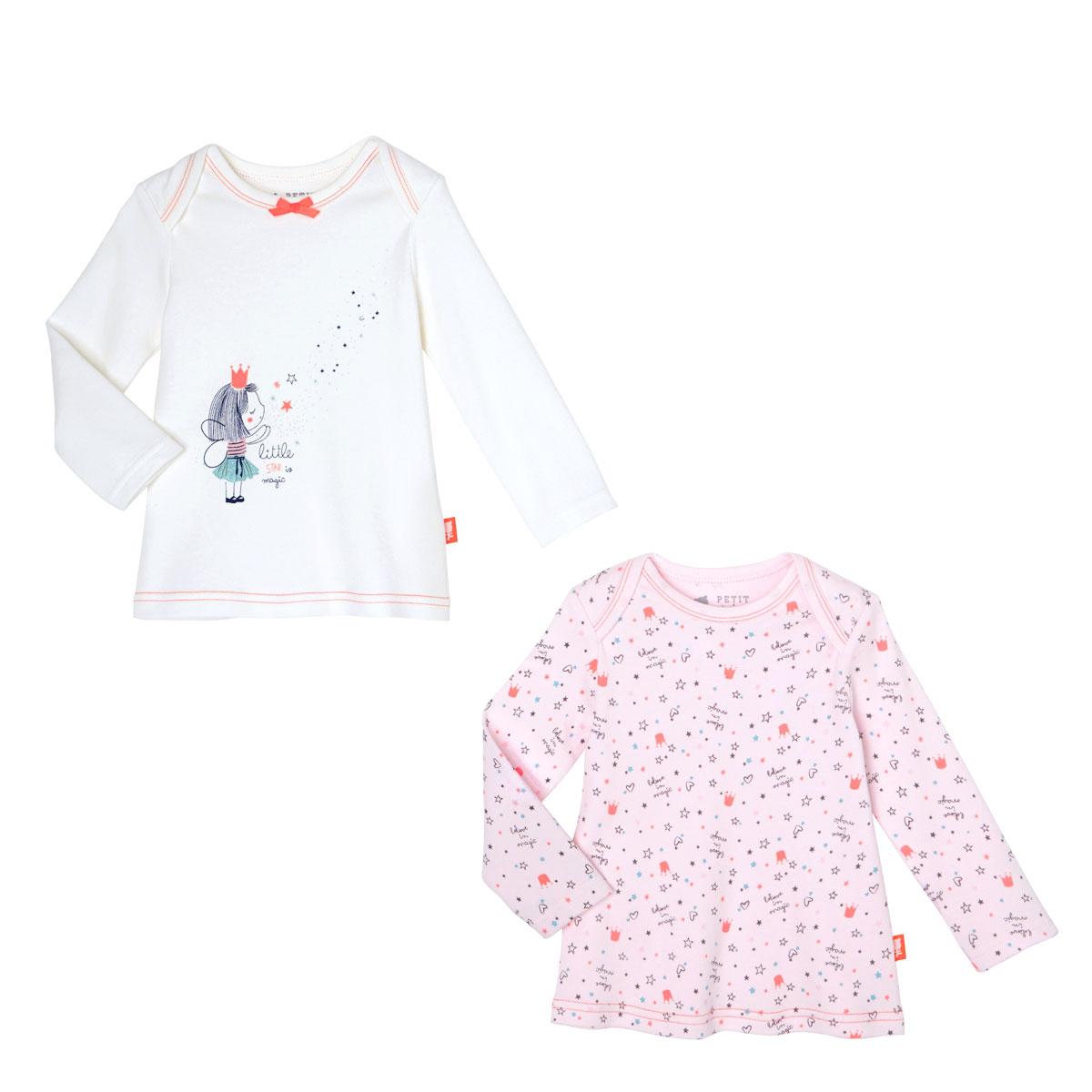 0b04a81e21cd8 Lot de 2 t-shirts manches longues bébé fille Star - PETIT BEGUIN