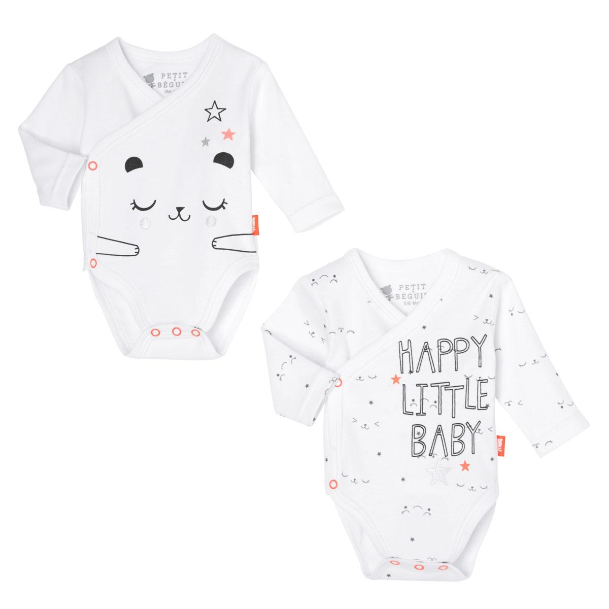 Lot de 2 bodies croisés manches longues bébé mixte Little Baby