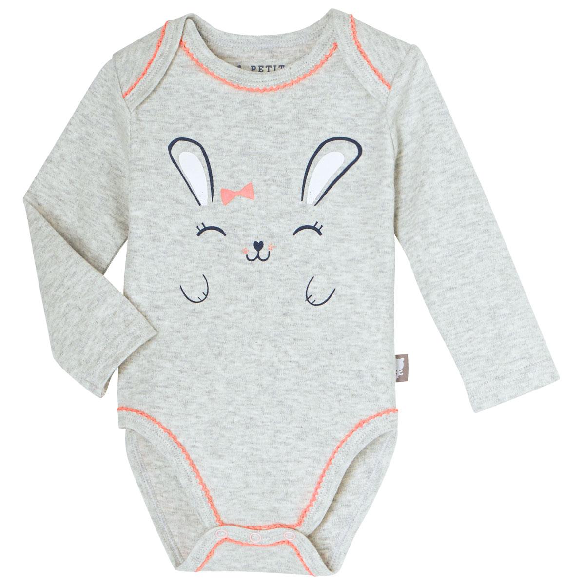 Lot de 2 bodies manches longues bébé fille Pretty Bunny
