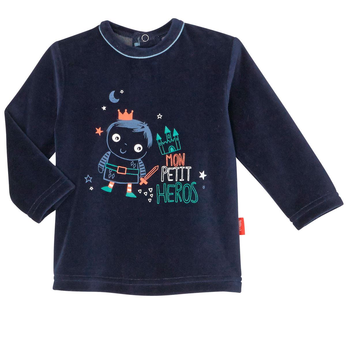 T-shirt en velours bleu marine bébé garçon Petit Héros