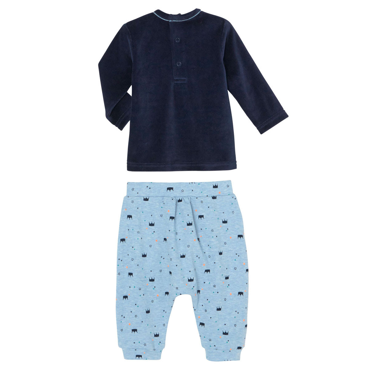 Ensemble bleu marine bébé garçon haut + sarouel hiver Petit Héros dos