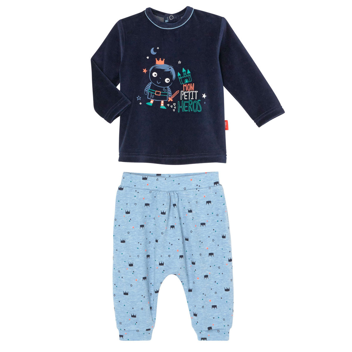 Ensemble bleu marine bébé garçon haut + sarouel hiver Petit Héros
