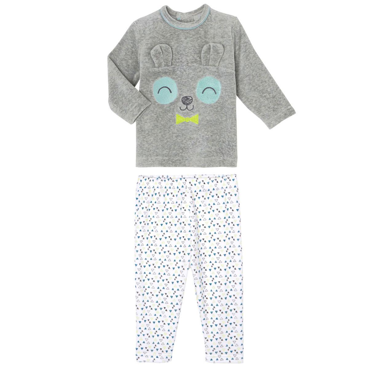 Pyjama bébé 2 pièces velours Petit Panda