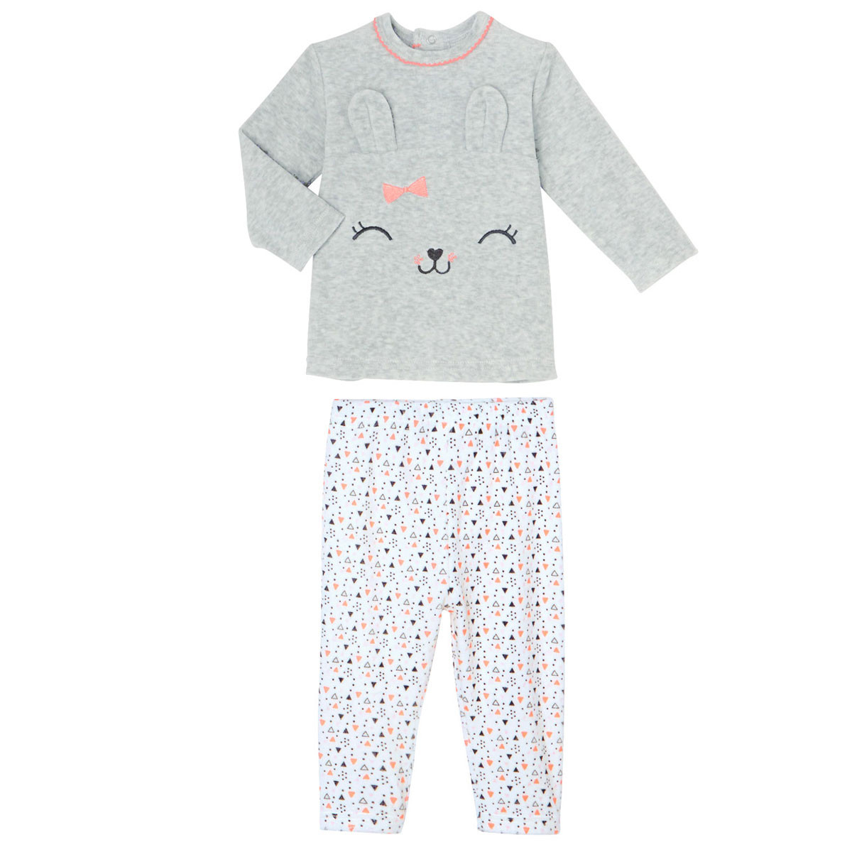 352b8ac101591 Pyjama bébé 2 pièces velours Pretty Bunny - PETIT BEGUIN