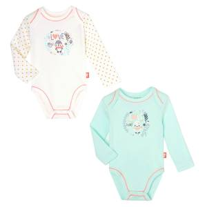 Lot de 2 bodies manches longues bébé fille Love Planet