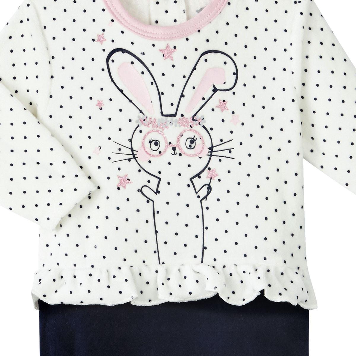Pyjama bébé fille velours Magic Bunny zoom sur les volants