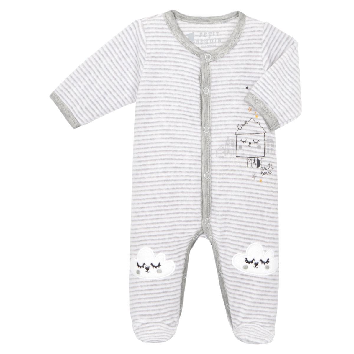 801277452ee60 Pyjama bébé velours mixte With Love - PETIT BEGUIN