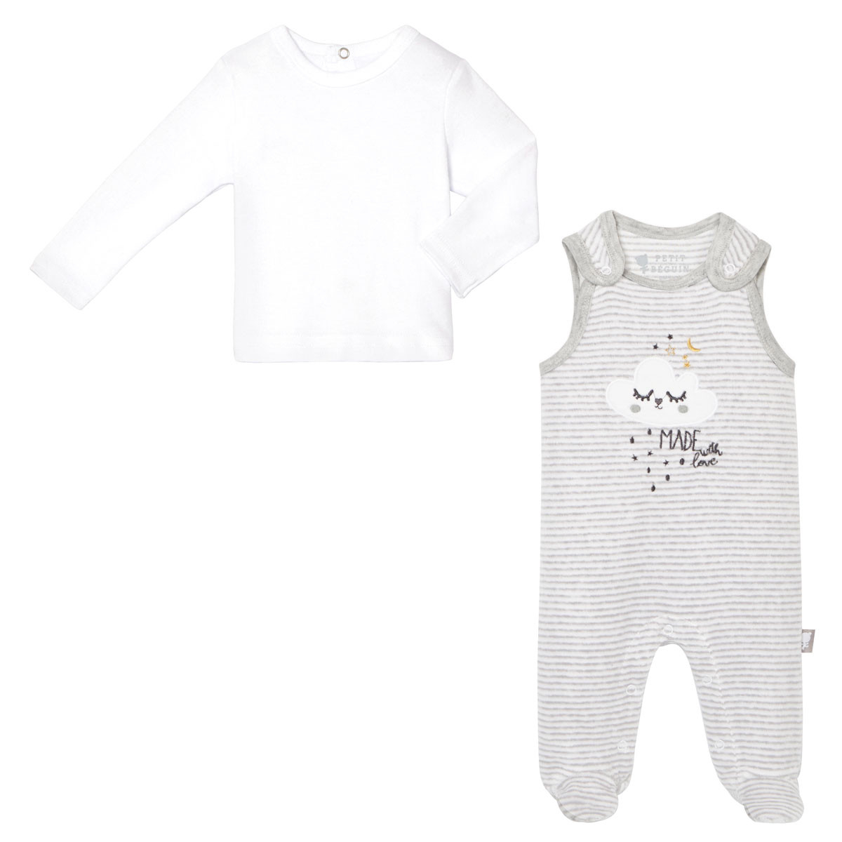 Ensemble salopette velours + T-shirt coton bébé mixte With Love
