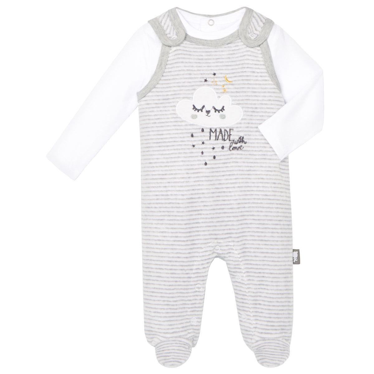 Salopette velours + T-shirt coton bébé mixte With Love
