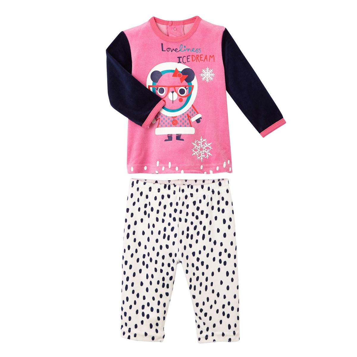 Pyjama bébé 2 pièces velours Loveliness