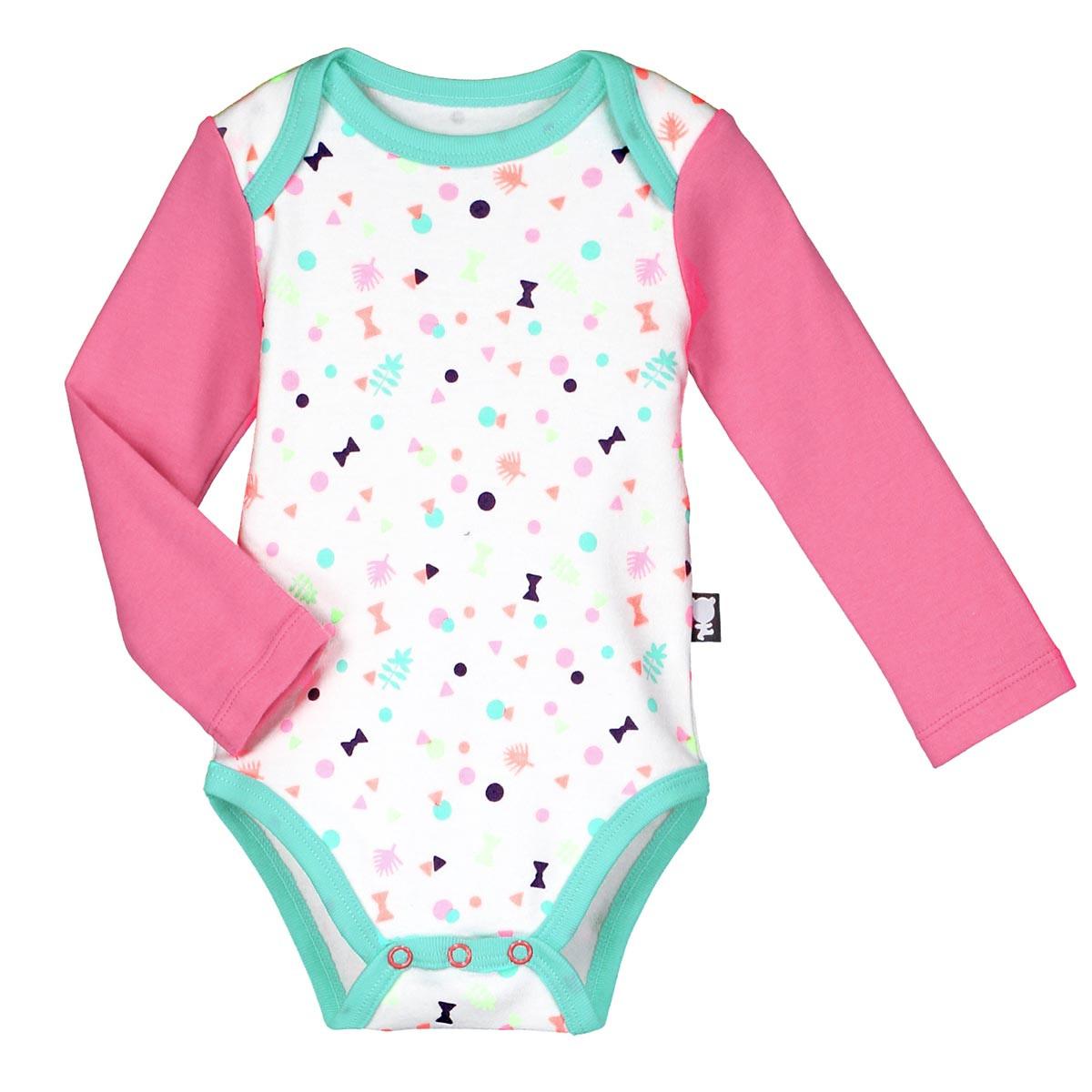 Lot de 2 bodies manches longues bébé fille Petite Troupe confettis