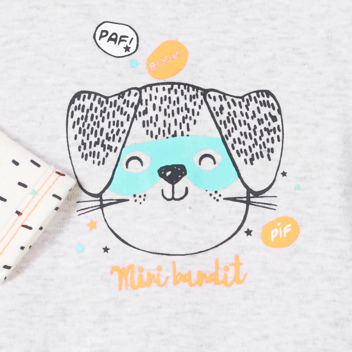 Pyjama bébé Mini Bandit gris clair zoom