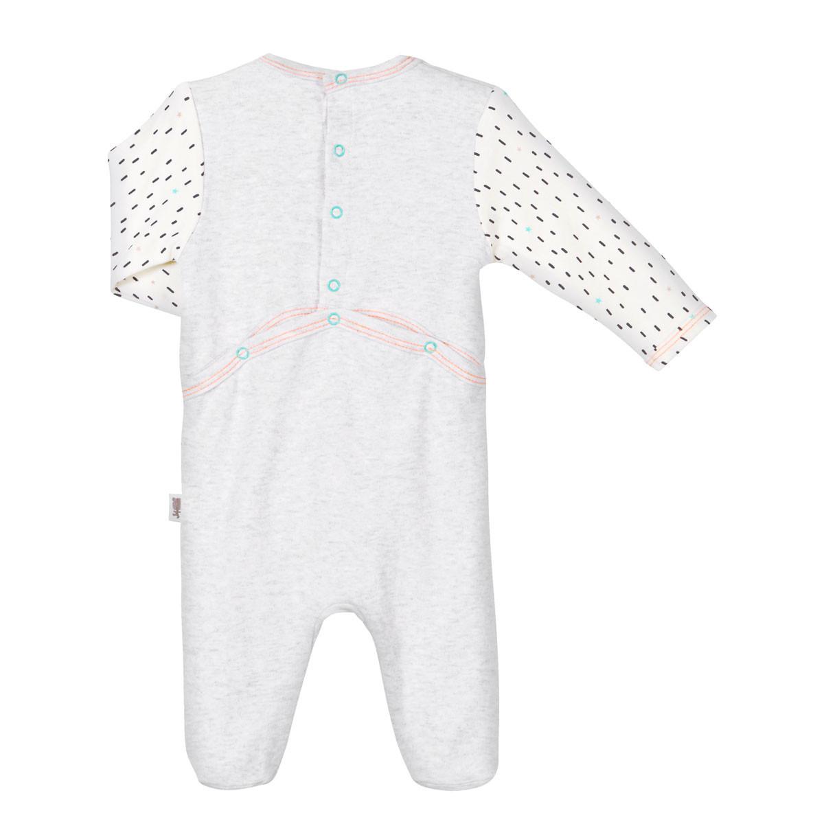 Pyjama bébé Mini Bandit gris clair dos