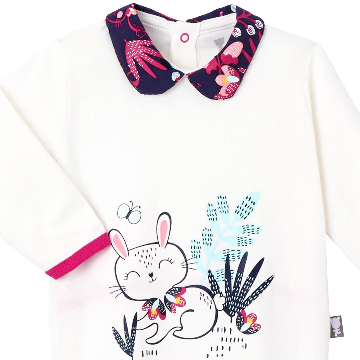 0d1b1ac7dec58 ... Pyjama bébé Pink Bunny col claudine à fleurs ...