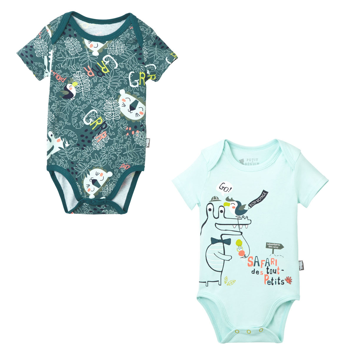 Lot de 2 bodies manches courtes bébé garçon Camoujungle