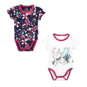 Lot de 2 bodies manches courtes bébé fille Pink Bunny