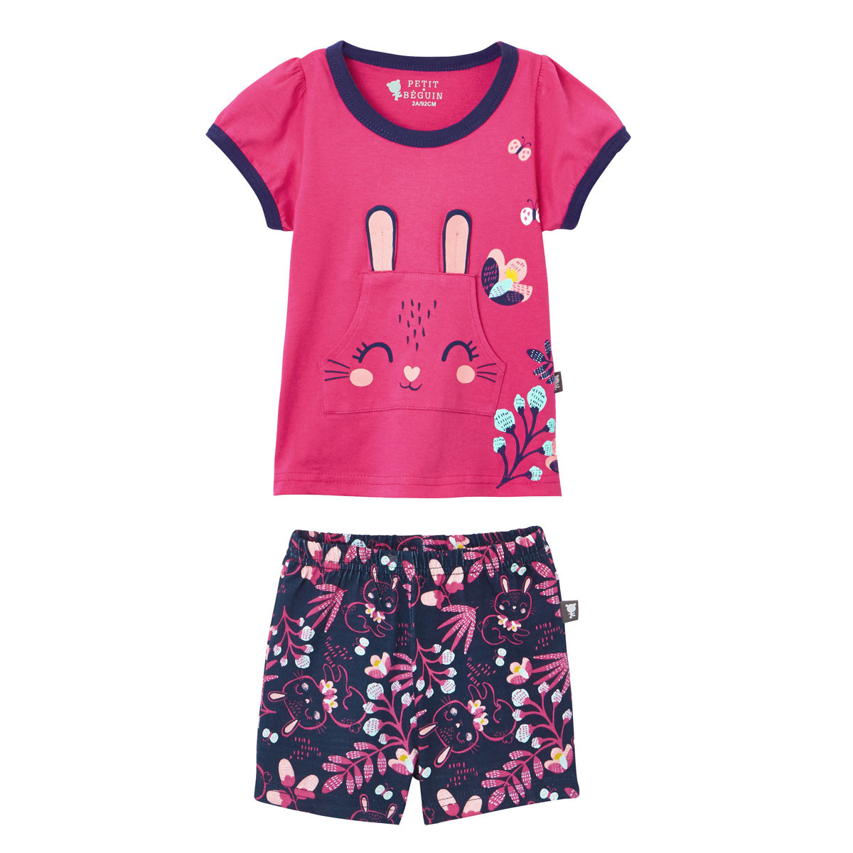 6bbb840ee72bb Pyjama manches courtes fille Pink Bunny - PETIT BEGUIN