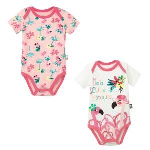 Lot de 2 bodies manches courtes bébé fille Miss Pinky