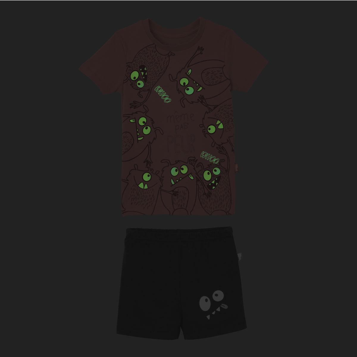 Pyjama phosphorescent manches courtes garçon Même pas peur