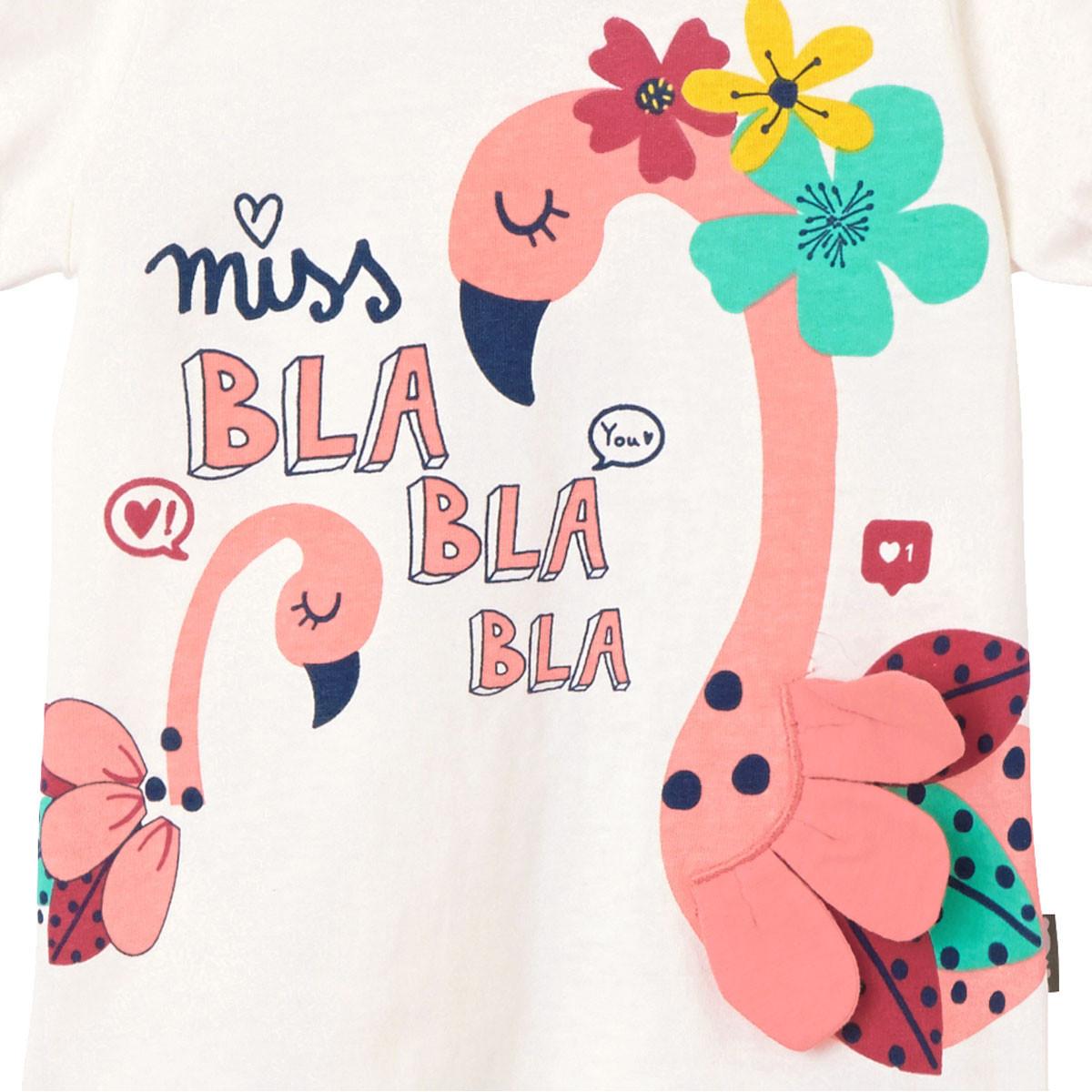 Pyjama manches courtes fille Miss Blabla flamand rose