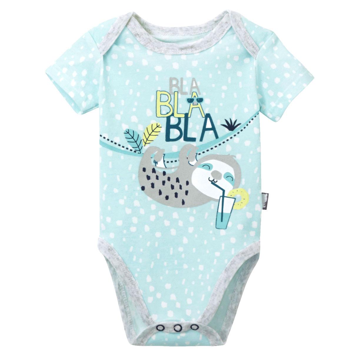 Lot de 2 bodies manches courtes bébé garçon Pampa Petit Béguin bleu clair
