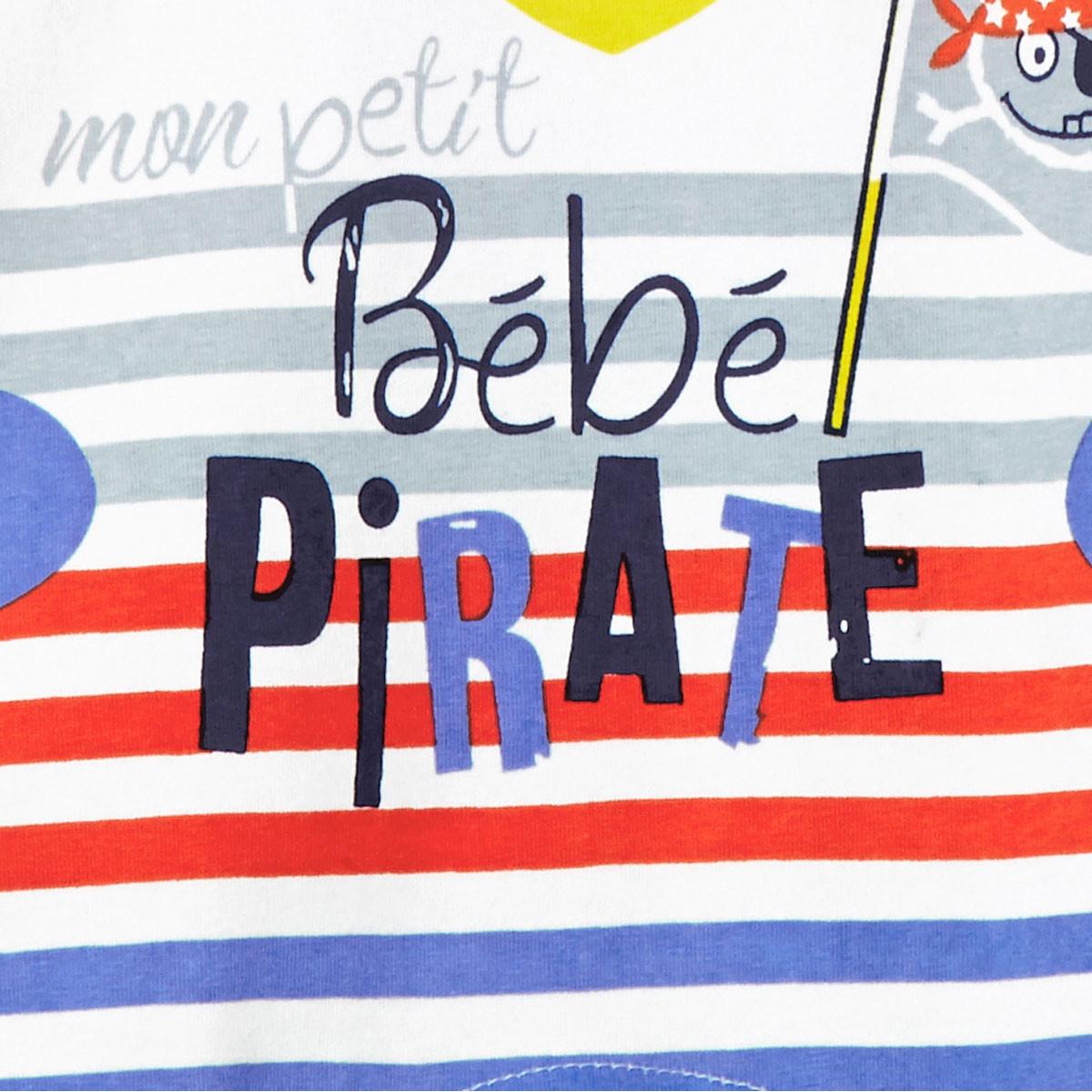 Barboteuse manches courtes bébé garçon Bébé Pirate Petit Béguin zoom