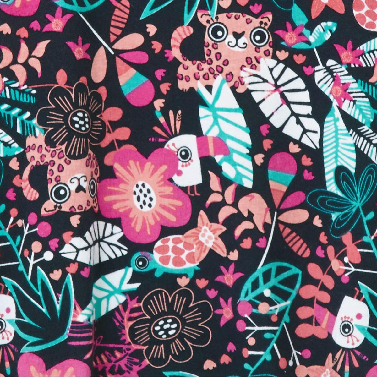 Zoom sur le motif tropical de la arboteuse tropical à bretelles bébé fille Ilohana