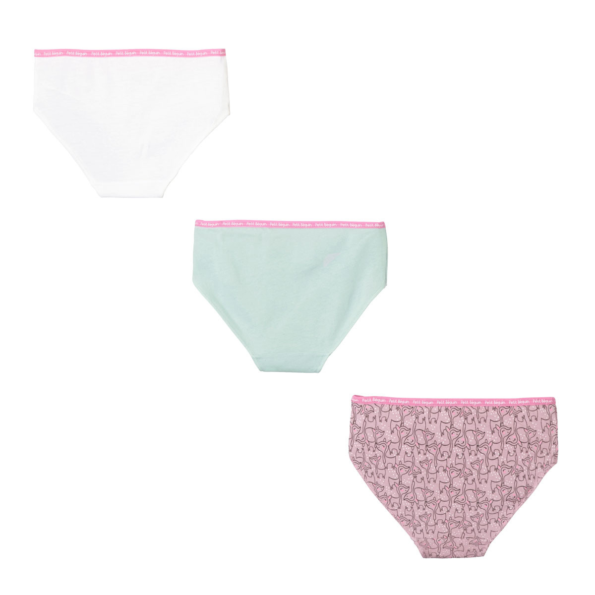 Lot de 3 culottes fille Happy Days dos
