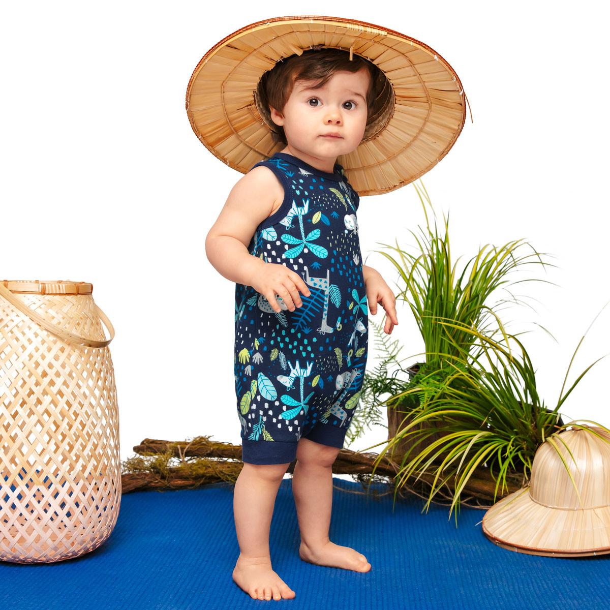 Barboteuse débardeur bébé garçon bleue Pampa Petit Béguin