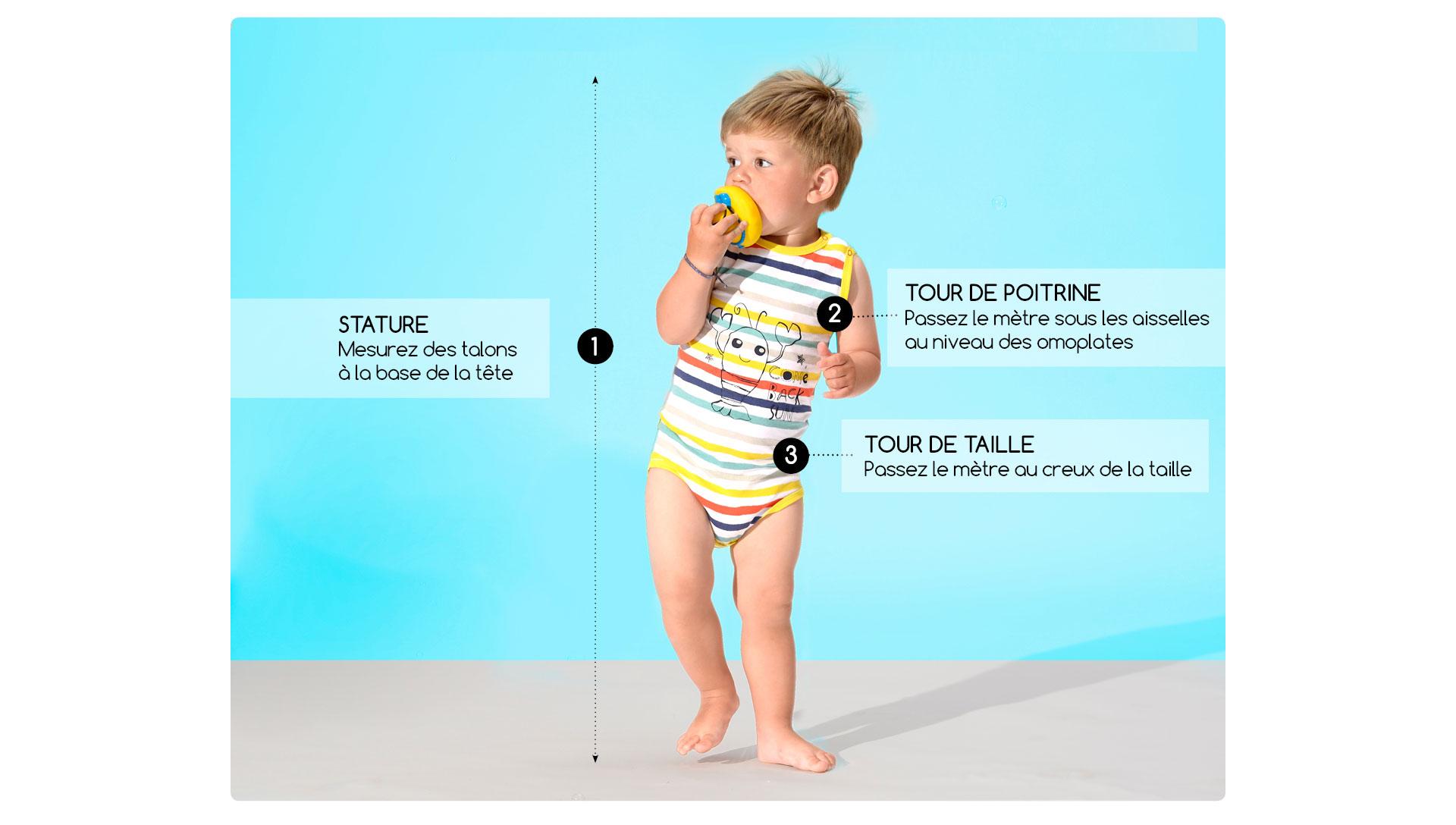 Guide des tailles bébé garçon